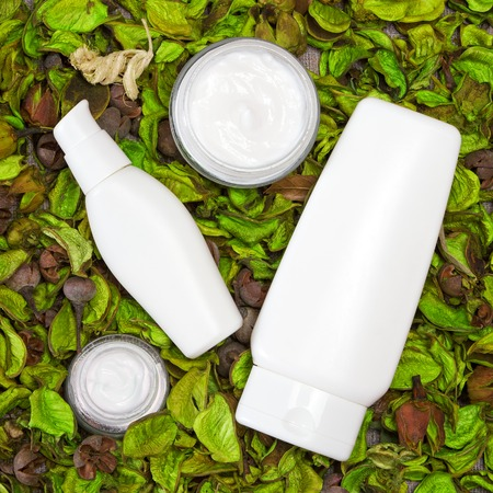 Cosmetic skin care products surrounded by dry green leaves. Open glass jars of cream with other beauty products. Organic cosmetics for women. Top view Standard-Bild