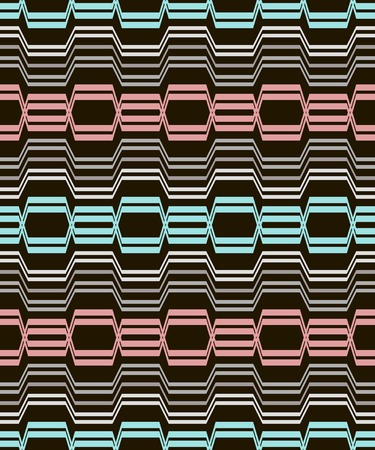 sinuous: Abstract geometric seamless pattern of curving bands. Blue, red, white, gray, black colors. Optical illusion of volume