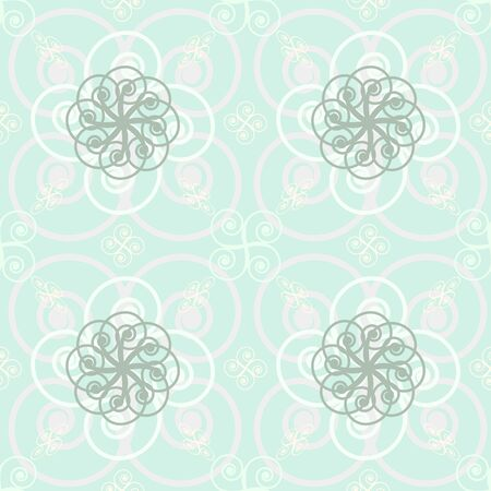 roundish: Beautiful elegant abstract seamless print of roundish flourishes. Pink, turquoise, gray delicate pastel colors. Vector illustration for various creative projects