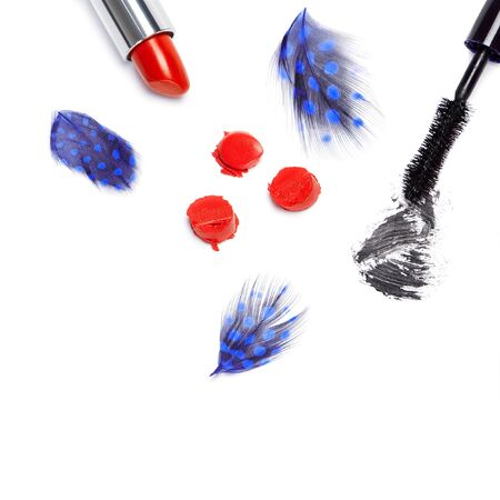 smeared mascara: Black mascara and bright orange lipstick with mottled blue feathers on white background. Top view