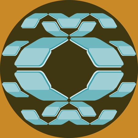 located: Abstract geometric seamless print. Folded cards with rounded corners located inside the circle. Dark green, orange, blue and white colors. Vector illustration