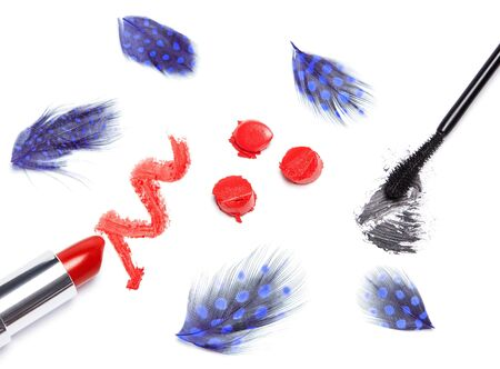 smeared mascara: Black mascara and bright orange lipstick with mottled blue feathers on white background Stock Photo