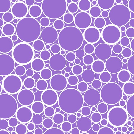 Cheerful abstract seamless print of randomly scattered rings different diameter and thickness. Bright lilac and white colors. Vector illustration for beautiful creative design