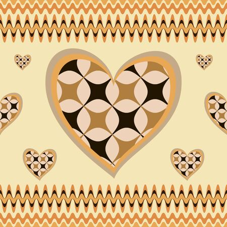 surrounded: Beautiful seamless background with hearts. Big heart with pattern inside surrounded by little ones. Vector illustration Illustration