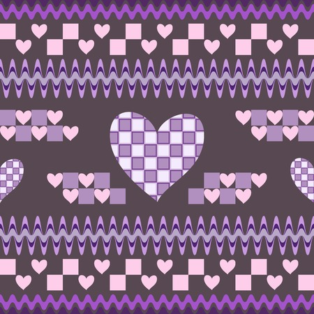 cellule: Seamless fantasy pattern with hearts. Shapes with cells inside. Beautiful print in the spirit of Alice in Wonderland. Vector illustration