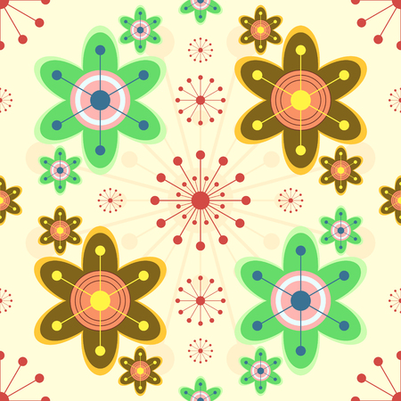 lively: Cheerful seamless print of bright abstract flowers. Lively children wallpapers. Vector illustration for various creative projects
