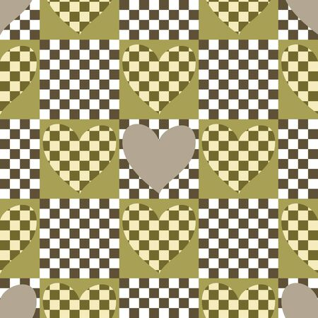 Seamless checkered chess pattern with hearts in the spirit of Alice in Wonderland. Cutting shapes. Vector illustration