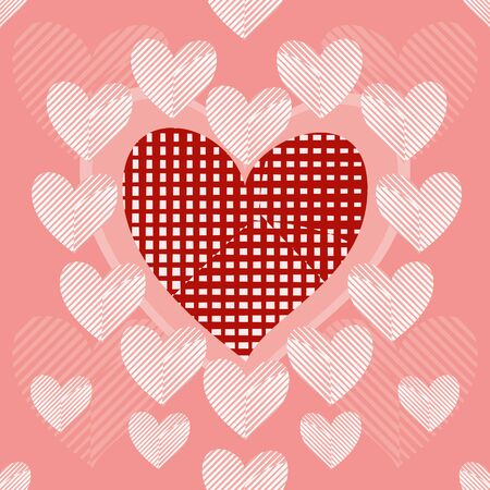 white patches: Big red heart with sloppy patches surrounded by striped white patchwork hearts. Seamless background. Beautiful vector illustration to create a stylish unusual design Illustration