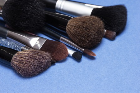 kabuki: Set of various natural bristle makeup brushes: for applying blush, powder, foundation, cream and compact eyeshadow, kabuki brush. Blue background. Shallow depth of field, focus on first brush bristle