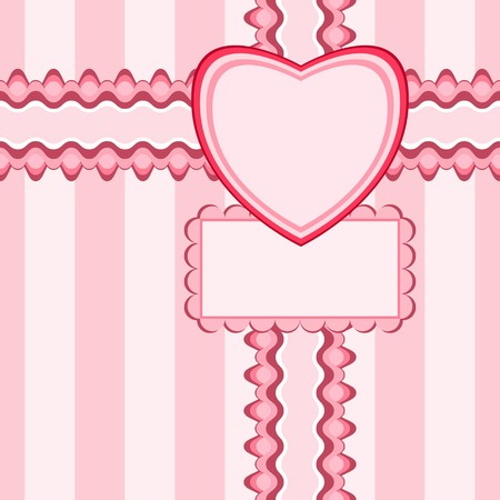 Beautiful seamless pattern with lace, heart and card in pink color. Vector illustration. Can be used for girl baby shower design