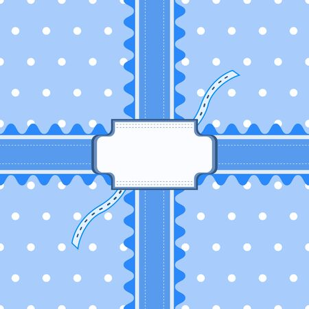 Beautiful seamless pattern with lace and card in blue color. Vector illustration. Can be used for boy baby shower design