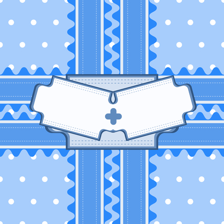 backstitch: Beautiful seamless pattern with lace and double card in blue color. Vector illustration. Can be used for twin boys baby shower design
