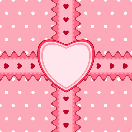 backstitch: Beautiful seamless pattern with lace and heart-shaped card in pink color. Vector illustration. Can be used for girl baby shower design Illustration
