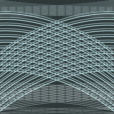 curving: Beautiful elegant pattern of gently curving lines. Gracefully intersecting strips form an arch. Muted blue colors. Vector illustration for stylish creative design Illustration