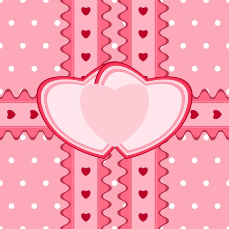 felicitation: Beautiful seamless pattern with lace and two heart-shaped cards in pink color. Vector illustration. Can be used for twin girls baby shower design Illustration