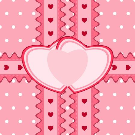 niñas gemelas: Modelo inconsútil hermosa con encajes y dos tarjetas en forma de corazón en el color rosado. Ilustración del vector. Puede ser utilizado para las niñas gemelas diseño de la ducha del bebé