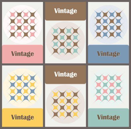 Set of six cards with graceful pattern in vintage colors. Vector illustration Illustration
