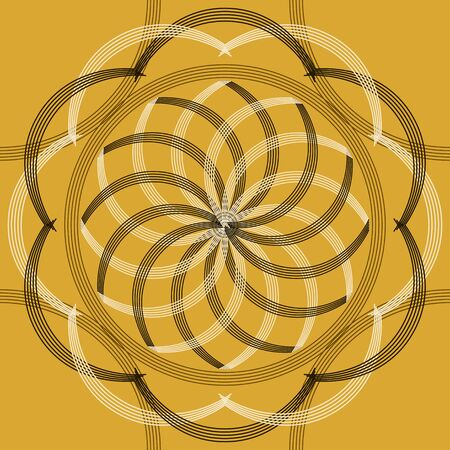 restrained: Beautiful elegant abstract seamless print. Refined fashion ornament. Mustard, brown, white, black colors. Vector illustration for stylish design Illustration