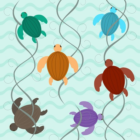 aquatic: Cute seamless pattern. Charming multicolored aquatic turtles floating underwater among algae. Vector illustration for various creative projects