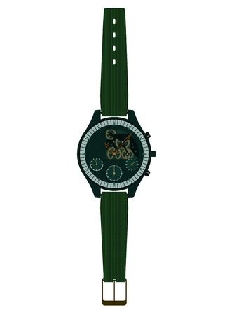 Modern mechanical men's open mechanism watch. Skeleton wristwatch. Vector illustration Фото со стока - 43498854
