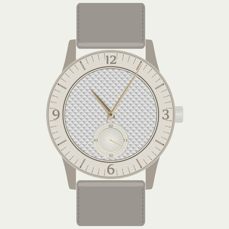 strap: Elegant fashion womens wrist watch with wood dial and leather strap. Beautiful ladies wristwatch. Vector illustration Illustration