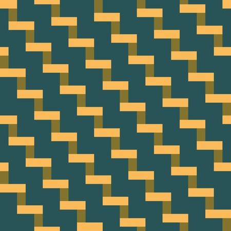 escalera: patrón geométrico abstracto sin fisuras de baldosas en forma de escalera. Turbia azul, naranja y pantano. ilustración vectorial