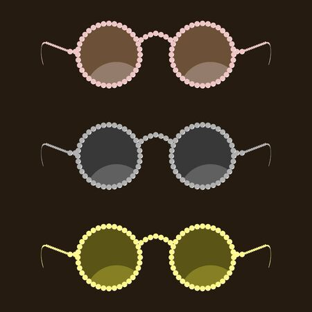 eyewear: Fashion sunglasses with a rim of round beads. Trendy modern eyewear. Vector illustration Illustration