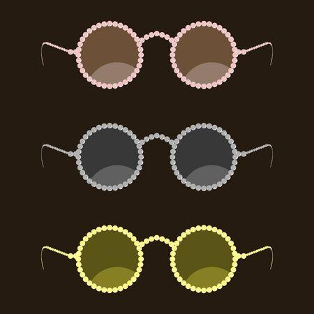 cerchione: Moda occhiali da sole con un bordo di perle rotonde. Dell'occhialeria moderna Trendy. Illustrazione vettoriale Vettoriali