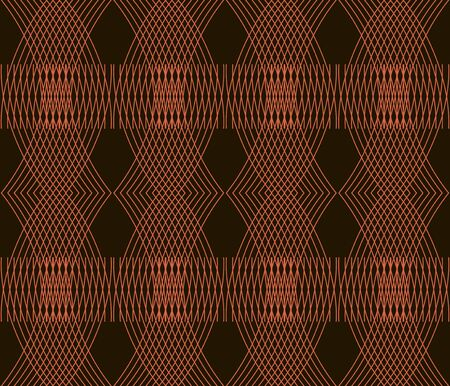 intersecting: Beautiful elegant seamless pattern of gently curving lines. Black and orange colors. Vector illustration for stylish creative design