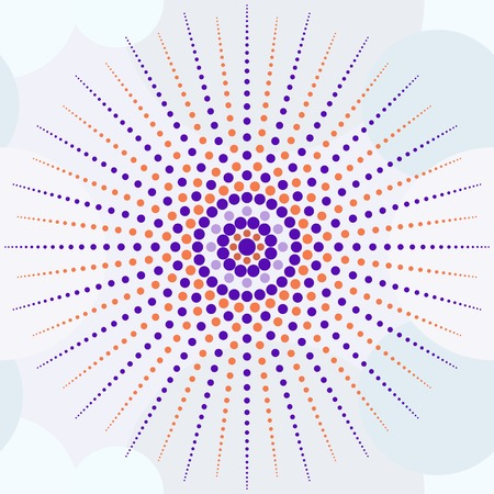 pastel shades: Beautiful seamless print of small colored peas forming the sun, orange and purple colors. Background of low-contrast circles pastel shades. Vector illustration for various creative projects