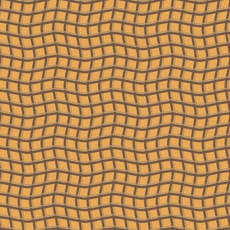 hilly: Abstract seamless pattern of intertwining wavy stripes. Winding checkered print. Visual illusion of hilly surface. Orange and brown colors. Vector illustration Illustration