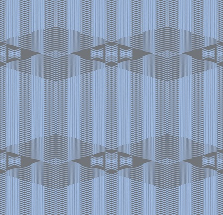 curving lines: Seamless print of gently curving lines. Criss-cross lacing pattern. Gray and blue colors. Vector illustration for various creative projects
