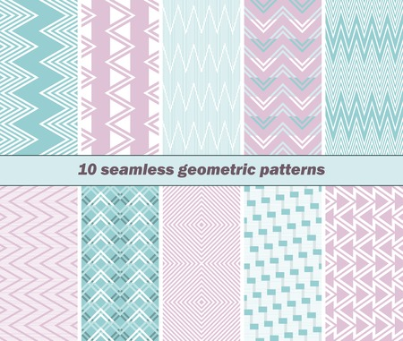 striated: Set of 10 various seamless geometric patterns in pink and blue colors. Vector illustration for various creative projects