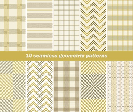 pleasant: Set of 10 various seamless geometric patterns. Pleasant warm colors. Vector illustration for various creative projects