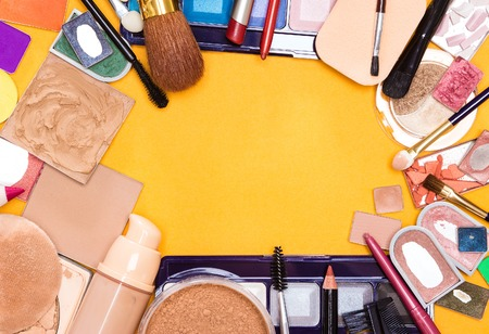 of cosmetics: Different makeup cosmetics and accessories frame