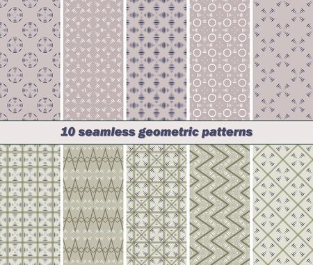 airwaves: Set of 10 different seamless abstract geometric patterns with striped vanes elements