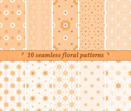 striated: Set of 10 different seamless cute floral patterns in orange colors