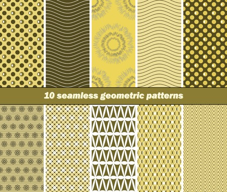 graphically: Set of 10 different seamless geometric patterns