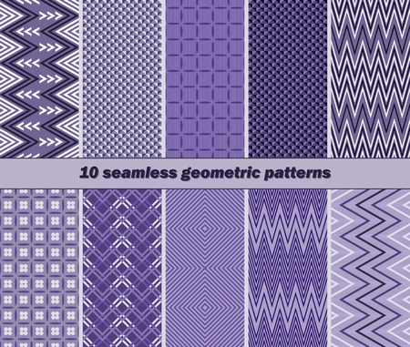 striated: Set of 10 different seamless geometric patterns in violet color Illustration