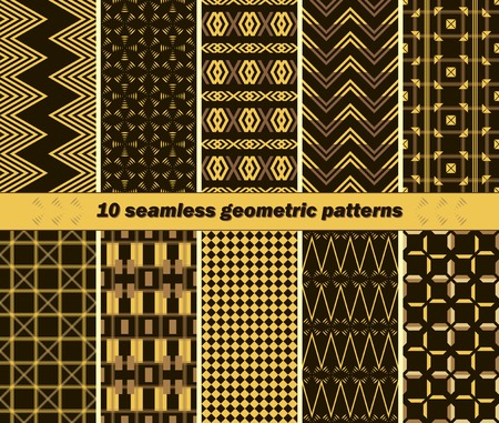 Set of 10 different seamless abstract elegant geometric patterns Illustration