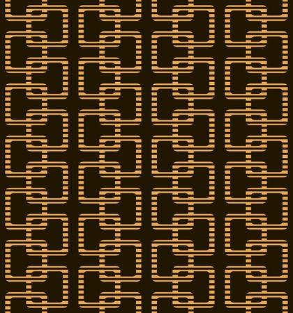 striated: Abstract seamless geometric pattern in black and orange colors. Striped squares with rounded corners. Vector illustration for stylish creative design