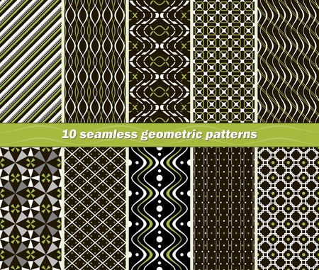 contrasting: Set of 10 different seamless abstract geometric patterns in black, white and green colors. Beautiful contrasting prints. Vector illustration for stylish fashionable design