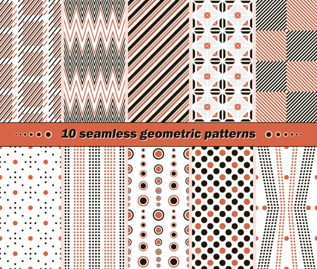 contrasting: Set of 10 different seamless abstract geometric patterns in black, white and red colors. Beautiful contrasting prints. Vector illustration for stylish creative design