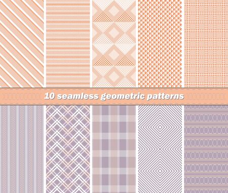 striated: Set of 10 different seamless abstract geometric patterns in orange and lilac colors. Vector illustration for various creative projects