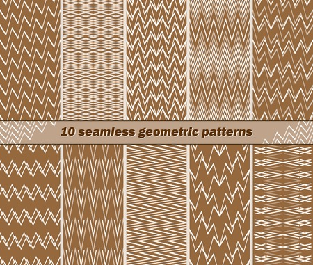 oscillations: Set of 10 different seamless abstract geometric patterns in brown and white colors. Broken and intersecting lines. Vector illustration for various creative projects