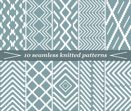 stepped: Set of 10 different seamless knitted patterns in blue-grey color. Elegant stepped geometric prints. Vector illustration for various creative projects