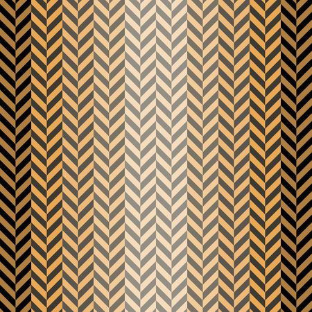 striated: Abstract seamless herringbone pattern in black, gray, orange colors. Optical illusion of volume surface. Vector illustration for various creative projects Illustration