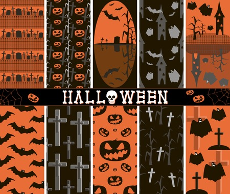 graves: Set of 10 different seamless spooky Halloween patterns, part 2. Cemeteries, graves, crosses, evil pumpkins, bats, creepy trees, towers, flying ghosts. Black, white, orange colors. Vector illustration