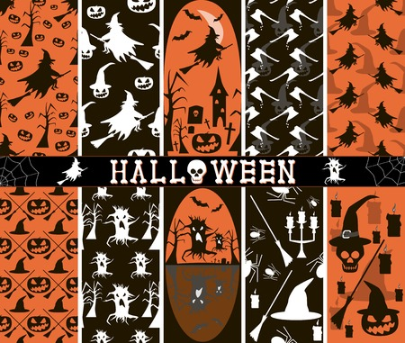 besom: Set of 10 seamless spooky Halloween patterns, part 3. Witches flying on broomsticks, evil pumpkins, creepy demonic trees, bloody axes, witch hats, bats, spiders, candles, skulls. Vector illustration Illustration