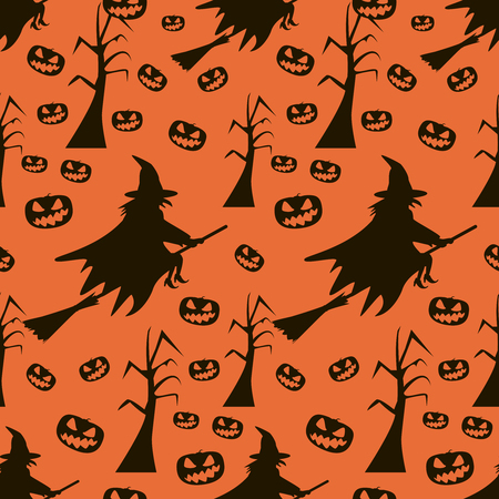 coven: Seamless Halloween pattern of witches flying on broomsticks, evil demonic pumpkins and dead trees with gnarled branches. Eerie background in black and orange colors